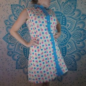 Vintage 60s Shift Dress Floral Large L Retro